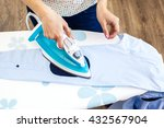 closeup of woman ironing... | Shutterstock . vector #432567904