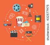 banner with flat cinema icons  | Shutterstock .eps vector #432577975