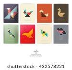 set of eight tangram birds.... | Shutterstock .eps vector #432578221