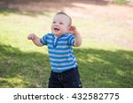 cute funny smiling baby making... | Shutterstock . vector #432582775