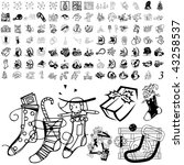 christmas set of black sketch....   Shutterstock .eps vector #43258537