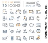 set vector line icons in flat... | Shutterstock .eps vector #432587101
