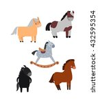 smiling cartoon horses on white ... | Shutterstock .eps vector #432595354