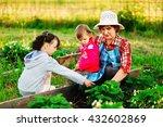 family resting in garden and... | Shutterstock . vector #432602869