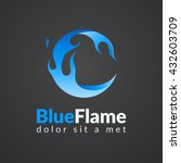circle blue flame logo. | Shutterstock .eps vector #432603709