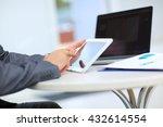 man holding digital tablet ... | Shutterstock . vector #432614554