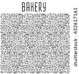 hand drawn bakery seamless logo ... | Shutterstock .eps vector #432617161