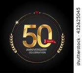 50 golden anniversary logo with ... | Shutterstock .eps vector #432625045