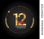 12 golden anniversary logo with ... | Shutterstock .eps vector #432627229