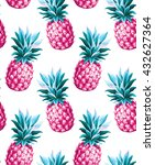 pineapple seamless pattern.... | Shutterstock .eps vector #432627364