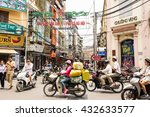 Small photo of Hanoi, Vietnam - May 18, 2016: Busy motorbike traffic in the Old Quarter in Hanoi. In recent decades, motorbikes have overtaken bicycles as the main form of transportation causing frequent gridlocks.