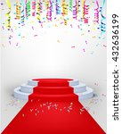 winner podium confetti with red ... | Shutterstock .eps vector #432636199