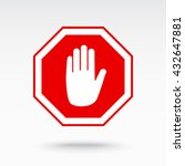 no entry hand sign icon  vector ... | Shutterstock .eps vector #432647881