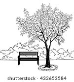 Bench In City Park. Trees And...