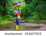 little boy playing in rainy... | Shutterstock . vector #432657025