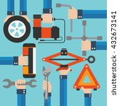 emergency road kit items auto... | Shutterstock .eps vector #432673141