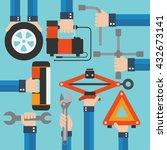 emergency road kit items auto... | Shutterstock .eps vector #432673141