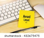 annual leave on sticky note on... | Shutterstock . vector #432675475