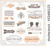 vintage wedding elements   set... | Shutterstock .eps vector #432680125