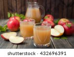 Apple Juice On Wooden Table...