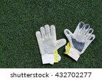 soccer goalkeeper glove on the... | Shutterstock . vector #432702277