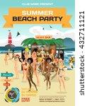 vector summer party invitation... | Shutterstock .eps vector #432711121