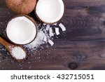 Coconut Halves With Shell On A...