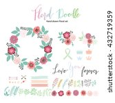 floral hand drawn vector set.... | Shutterstock .eps vector #432719359