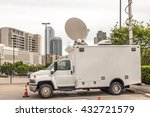 broadcast vehicle with antennas ... | Shutterstock . vector #432721579