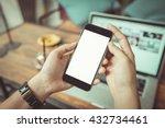 girl using smartphone in cafe.  | Shutterstock . vector #432734461