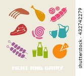 vector color meat and dairy... | Shutterstock .eps vector #432742279