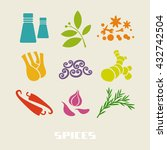 vector color spices and herbs... | Shutterstock .eps vector #432742504