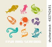 vector color fish and seafood... | Shutterstock .eps vector #432742651