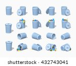 Set Of The Trash Cans. 3d...