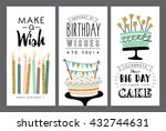 set of birthday greeting cards... | Shutterstock .eps vector #432744631