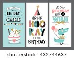 set of birthday greeting cards... | Shutterstock .eps vector #432744637