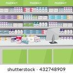 modern interior pharmacy and... | Shutterstock .eps vector #432748909