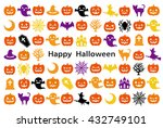 card with halloween icons. | Shutterstock .eps vector #432749101