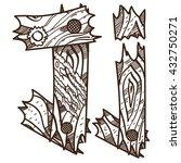 letter j from wooden planks.... | Shutterstock .eps vector #432750271