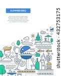 vector flat line design summer... | Shutterstock .eps vector #432753175