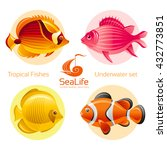 icon set with tropical fishes   ... | Shutterstock .eps vector #432773851