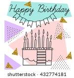 vector postcard happy birthday...   Shutterstock .eps vector #432774181