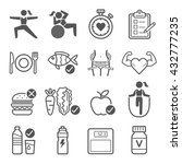diet and exercise icons. vector ... | Shutterstock .eps vector #432777235