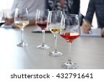 many glasses of different wine... | Shutterstock . vector #432791641