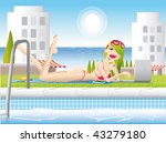 swiming pool   sun girl