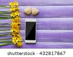 yellow daffodils and smartphone ... | Shutterstock . vector #432817867