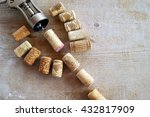 cork wine with the corkscrew on ... | Shutterstock . vector #432817909