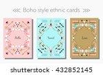 boho tribal ethnic style cards... | Shutterstock .eps vector #432852145