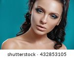 beautiful young girl with... | Shutterstock . vector #432853105