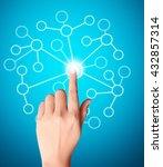 hand pressing modern social... | Shutterstock . vector #432857314